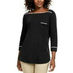 Karen Scott PXL 3/4 Sleeve Braided Trim Tshirt 484